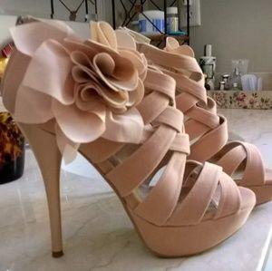 Soft Blush Pink Basket Weave Stiletto Platform